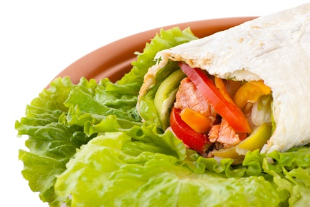 burrito with salmon, yellow, green and red peppers and tomato on plate photo