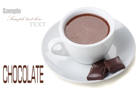 chocolate block: Hot Chocolate in white cups with Chocolate bar over white background Stock Photo