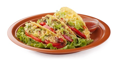 Closeup of beef tacos served with salad and fresh tomatoes salsa on white background 版權商用圖片