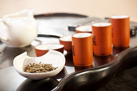 Table with accessories for traditional chinese tea ceremony photo