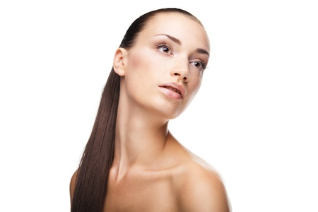 Natural health beauty of a woman face isolated Stock Photo - 16987227