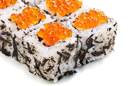 Traditional Japanese sushi with caviar on a white background photo