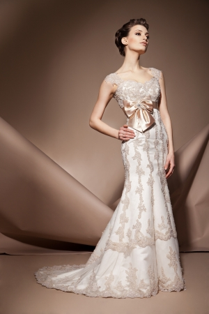 Die schöne junge Frau posiert in einem Hochzeitskleid Standard-Bild - 17850543
