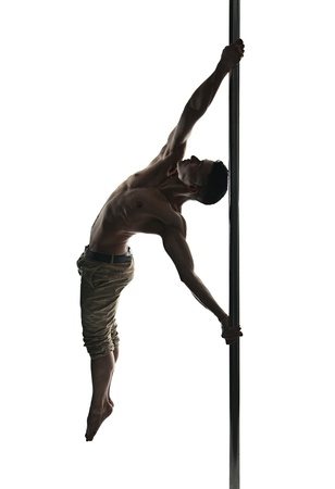 pole dance: Young strong pole dance man isolated over white background