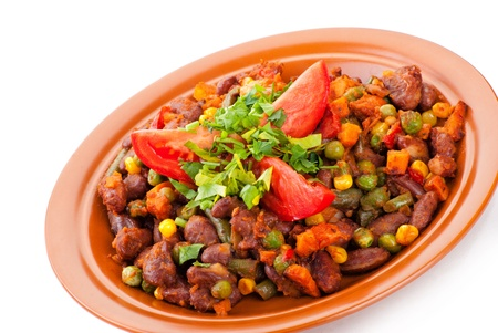 Traditional mexican chili with kidney beans and tomato on white background photo