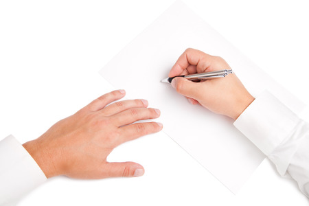conclude: Business worker signing the contract to conclude a deal