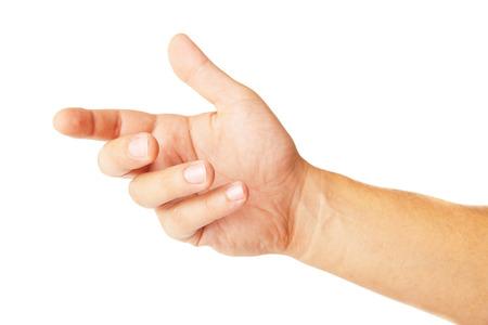 something: adult man hand to hold something like phone, isolated on white Stock Photo