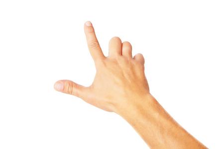 Hand poiting symbol isolated on white background photo