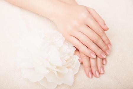 Mooie hand met perfecte nagel french manicure en witte bloem