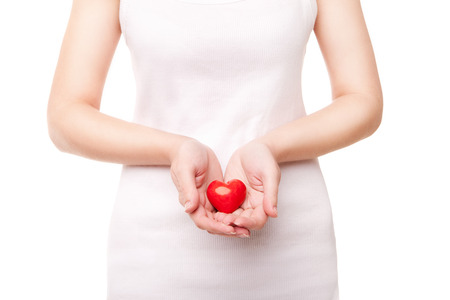 Valentines woman holding heart photo