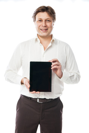 Business man holding digital tablet PC with blank black screen photo
