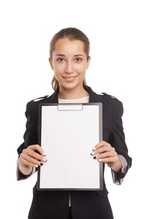 young business woman showing blank clipboard isolated on white background photo