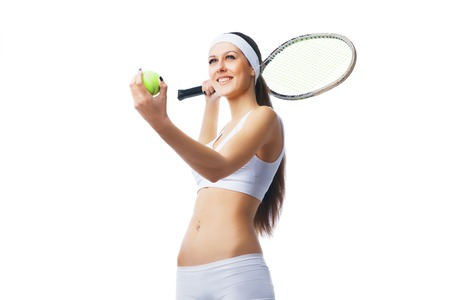 serve: Tennis player  preparing to serve. Isolated over white background.