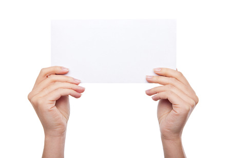 hand holding blank paper isolated on white background Standard-Bild