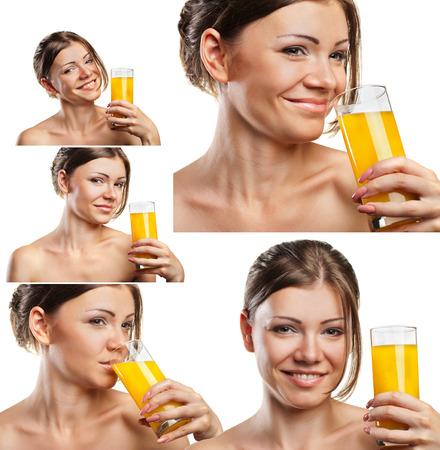 tomando jugo: Set retratos de atractiva caucásica sonriente mujer bebiendo jugo de naranja sobre fondo blanco