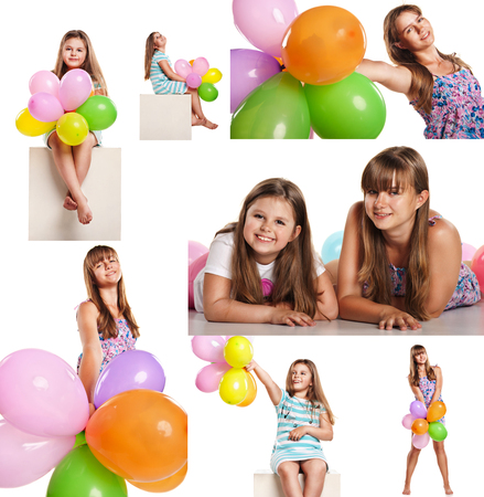 pj's: Set of images of happy children with colorful balloons celebrating isolated onwhite background