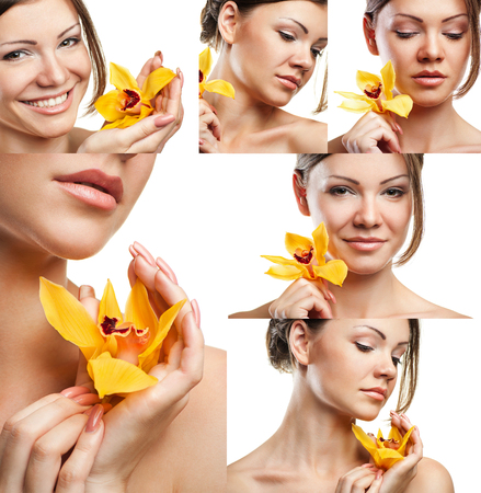 Collage of portraits of a beautiful woman with orange flower isolated on white background closeup photo