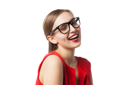 jovial: Jovial woman with red lips winking at camera.Isolated