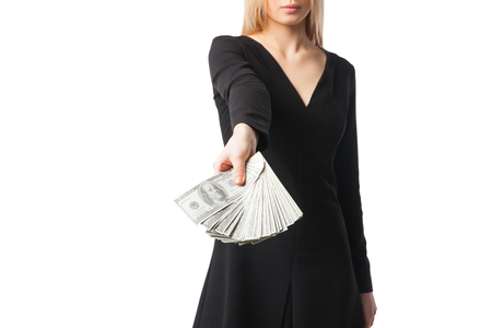 Woman hold dollars, close up