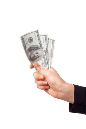 one hundred dollars: Hand with money isolated on a white background