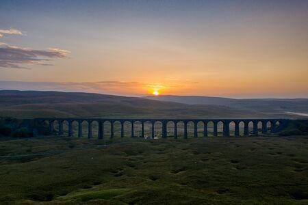 Sunset over Iconic Yorkshire Landmark Ribblehead Viaduct
