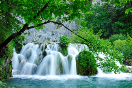 Waterfalls in Plitvice Jezera national park in Croatia