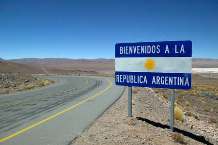 polarization: Road sign at the border of Argentina.