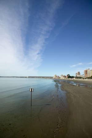 Nice coastline with deep polarized sky and the skyline of Puerto Madryn, Argentina. Stock Photo - 2874850