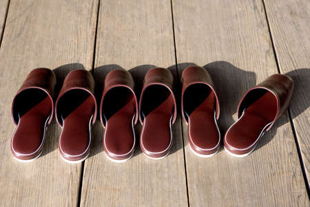 Japanese slippers in front of a traditional temple in Kyoto. Stock Photo