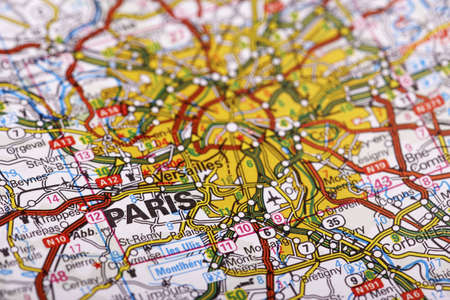 Paris Map Detail; selective focus