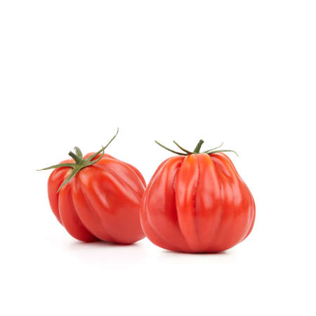 Two fresh and tasty looking Heirloom Tomatoes on white background. photo