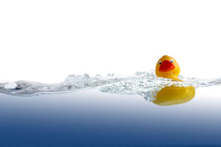 Classic yellow rubber duck in undulate water.
