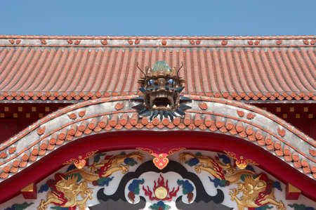 Front view of Shuri Castles Main Building.
