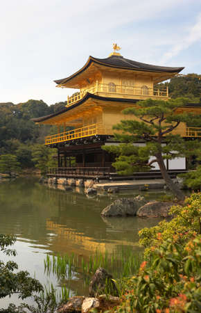 The Golden Pavilion in the middle of a nice ornamental garden, KyotoJapan.