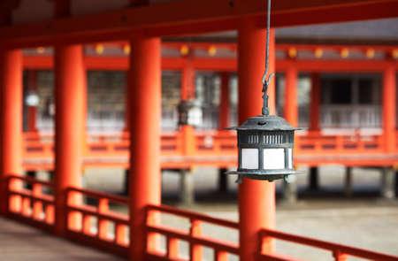 traditonal: Traditonal Japanese Lantern At Ktsukushima Shrine, Miyajima, Japan. Editorial