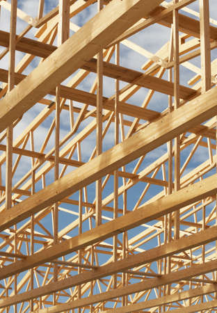Nice timber work on a new constructed warehouse. Stock Photo