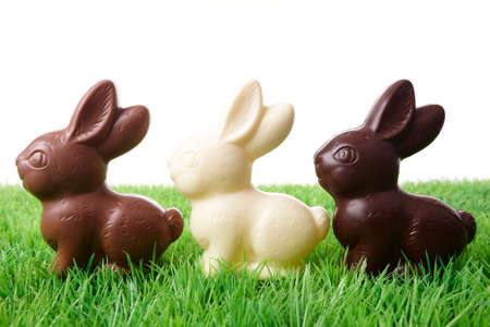 Brown, white and black easter rabbits in a row.