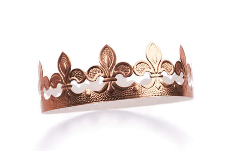 gold crown: Golden cardboard crown. Stock Photo