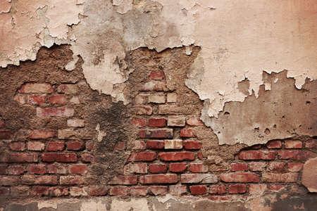 pared rota: Grunge antiguo muro de ladrillo de degradado.
