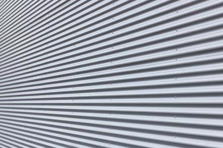 Nice corrugated aluminium wall with diminishing perspective. Stock Photo