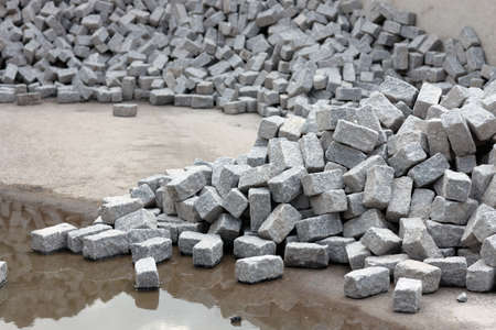 Heap of nice cobblestones, unloaded at a construction site. photo