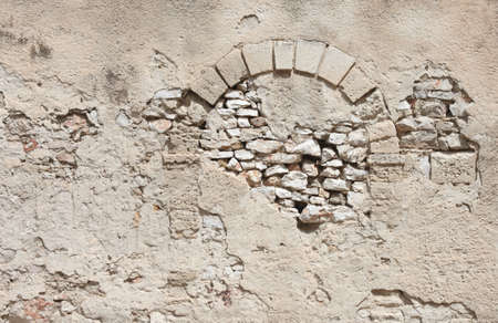 walled: Wall with walled doorway. Stock Photo
