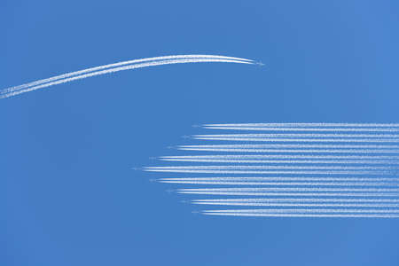 Airplane flying different way.