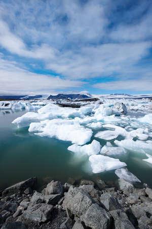 Amazing Jokulsarlon Lagoon with melting icebergs.