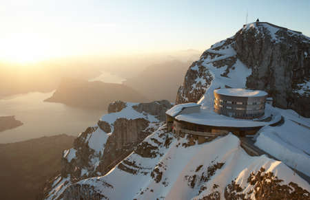Stunning view onto Lake Lucerne, seen from the peak of Mount Pilatus at sunrise (Switzerland).