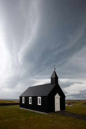 iceland: Beautyful black church, Western Iceland.
