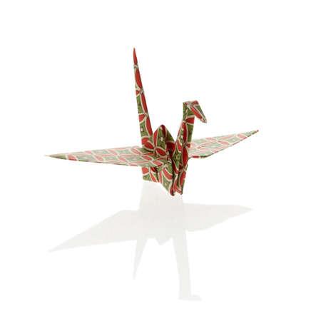 Colorful Origami Crane, isolated on white background. photo