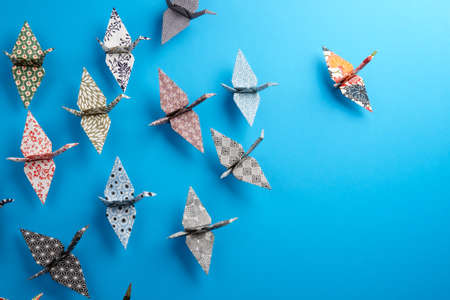 Colorful Origami birds flying to the light. photo