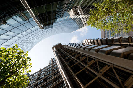 lloyds of london: Looking up the the futuristic metal facade of Lloyd