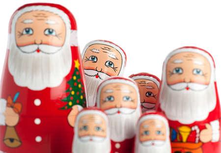 muñecas rusas: Grupo de Santa Claus figurines. Enfoque selectivo. Foto de archivo